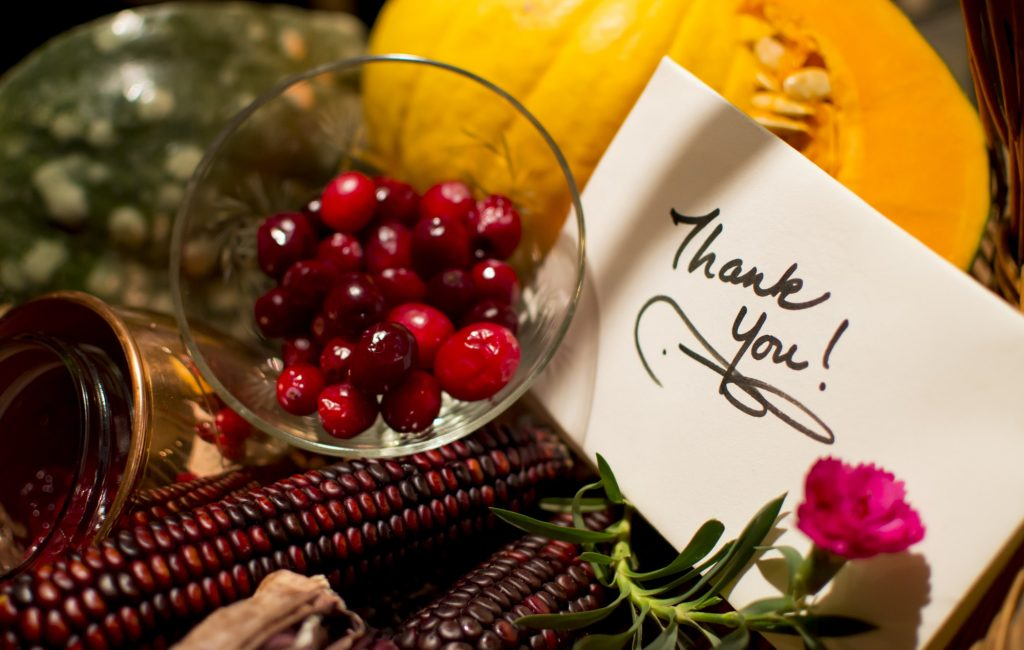 Thanksgiving thank you card gift basket handwritten note, Colorful pumpkins traditional cranberry
